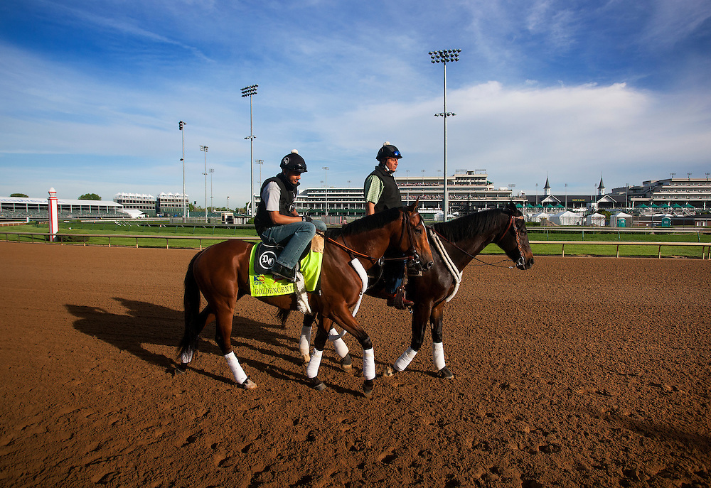 Goldencents gallops in preparation for the Kentucky Derby at Churchill Downs in Louisville, KY on May 02, 2013. (Alex Evers/ Eclipse Sportswire)