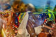 Crow Fair, powwow, Fancy Dancers, Crow Indian Reservation, Montana, blurred motion.