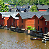 Europe, Scandinavia, Finland, Porvoo. Wooden storehouses line the Porvoonjoki river in scenic Porvoo.