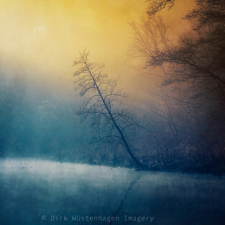 River Wupper near Solingen/ Germany on a misty morning - manipulated photograph.<br /> Prints &amp; more: http://society6.com/DirkWuestenhagenImagery/day-and-night-29S_Print#1=45