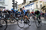 Kendal, Cumbria, UK, 16th September 2013. The leading riders turn into Allhallows Lane in Kendal for the final few hundred meters of the 225km Tour of Britain stage through the Lake District.