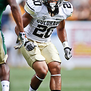 SHOT 9/1/13 4:15:14 PM - Colorado's Greg Henderson #20 covers a  Colorado State receiver during the 2013 Rocky Mountain Showdown at Sports Authority Field at MiIe HIgh Stadium in Denver, Co. Colorado won the annual in-state rivalry 41-27. (Photo by Marc Piscotty / © 2013)