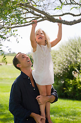 man lifting a little girl up to reach a tree branch