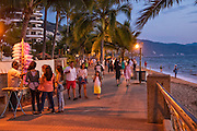 Evening on the Malecon in Puerto Vallarta, Jalisco, Mexico.