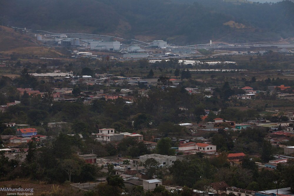Panorama of the town of San Rafael Las Flores and the Escobal, or San Rafael, silver mine. The Escobal mine is owned by US-based Tahoe Resources and Canadian mining giant Goldcorp. San Rafael Las Flores, Santa Rosa, Guatemala. February 11, 2015.