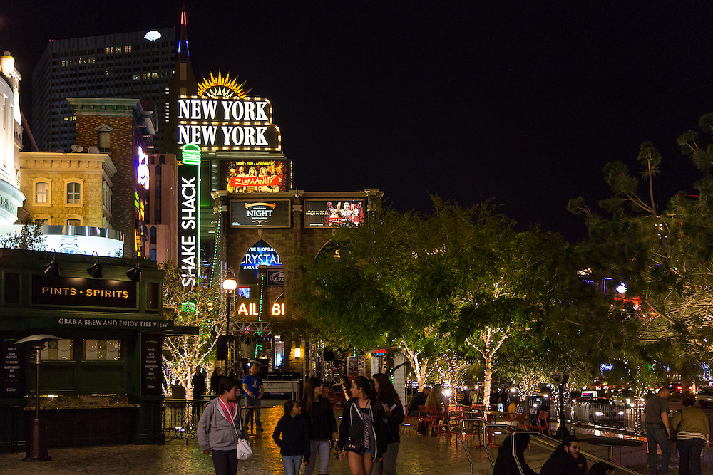 Hotels and lights on the Las Vegas strip, home to the WCC Championship Tournament.