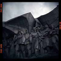 A Soviet-era sculpture on the outside of the Fashion House in Minsk features common workers of various professions and skills.