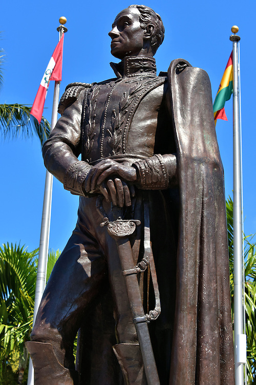 Sim&oacute;n Bol&iacute;var Statue at Bayfront Park in Miami, Florida<br /> This statue of Sim&oacute;n Bolivar pays tribute to his military leadership in liberating first Venezuela and then several other Latin America countries from Spanish rule during the early 19th century.  He is still revered by many Hispanic Americans for his patriotism and legacy as a champion for freedom. The eight-foot sculpture of The Liberator, which was a gift from the Venezuela government in 1979, stands in Bayfront Park in Miami.