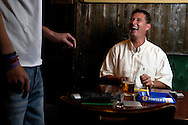 UK. Liverpool. Professional 'Streaker' Mark Roberts in a pub close to Liverpool Docks..Photo©Steve Forrest/Workers' Photos.