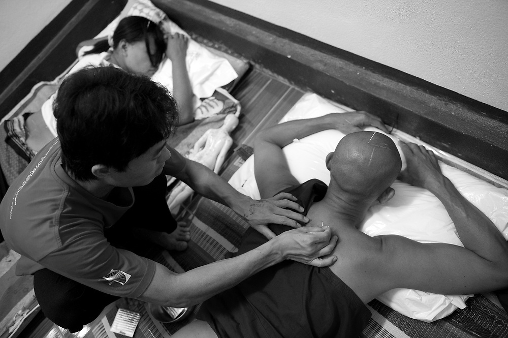 Acupuncture is a recent adopted healing practice at the Mae Tao Clinic in Mae Sot. The Mae Tao Clinic (MTC), founded and directed by Dr. Cynthia Maung, provides free health care for refugees, migrant workers, and other individuals who cross the border from Burma to Thailand in search of of medical treatment.