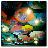Umbrellas decorating the ceiling in Madam Mam's restaurant in Austin, Texas.