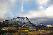 snow on mountains iceland west fjord.