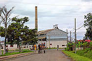Street and the remains of a sugar mill in Manuel Sanguily, Pinar del Rio Province, Cuba.