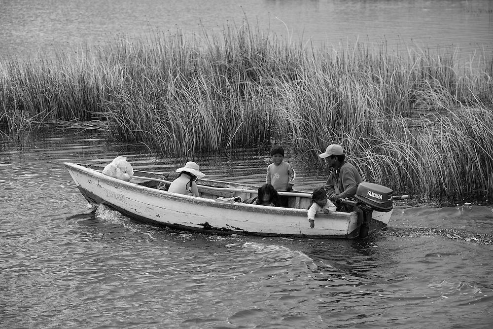 South America, Peru, Lake Titicaca, Uros people in boat