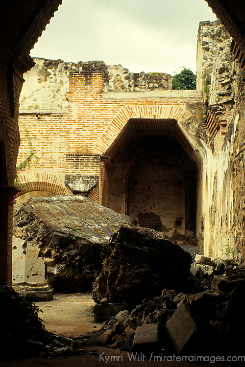 Central America, Guatemala, Antigua. Ruined remains of structure damaged by earthquakes.