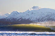 A cold winter surf lineup breaks against an offshore breeze in Homer, Alaska. The snowy Kenai mountain range rises from Kachemak Bay in the backgrou
