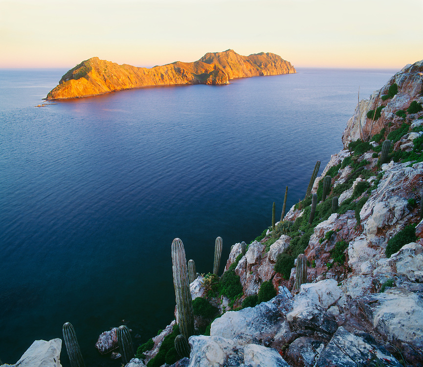 6103-1075 ~ Copyright: George H.H. Huey ~ Isla Datil at sunset, seen from Isla Cholludo.  Midriff Islands, Sea of Cortes, Mexico.