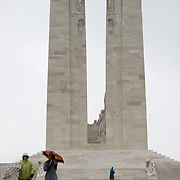 The back side (view from the Canadian Road) of the ‪Canadian National Vimy Memorial‬ dedicated to the memory of Canadian Expeditionary Force members killed in World War one. The monument is situated at a 100 hectare preserved battlefield with wartime tunnels, trenches, craters and unexploded munitions. The memorial designed by Walter Seymour Allward opened in 1936.
