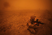 After two armored trucks of the ECHO platoon stuck in moody fields near Rahmat Bay, soldiers cover the area during a strong sandstorm while their comrades try to rescue the vehicles. In late October 2011 Kunduz based 3.Task Force started a several days operation in and around Nawabad (District Chahar Darah), west of Kunduz, northern Afghanistan. During the Operation Orpheus about 100 german infantery soldiers rolled out for patrols through the town and surrounding areas, which were expected as a retreat zone of insurgents.