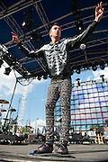 Tyler Joseph of Twenty One Pilots performs at Bunbury Music Festival at Yeatman's Cove in Cincinnati, Ohio on July 13, 2013.