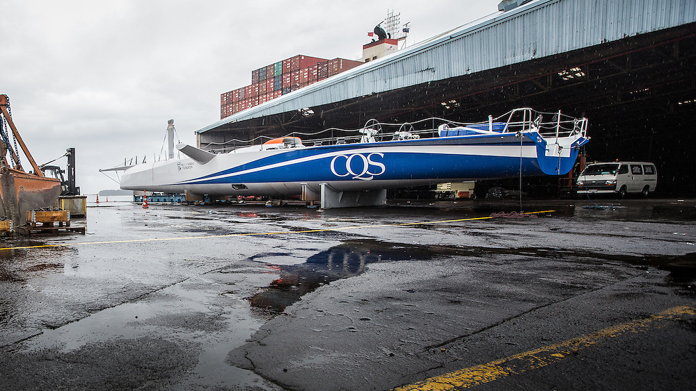 100-ft race yacht at Southern Ocean Marine. Tauranga, New Zealand. 7 November 2016.  Photo:Gareth Cooke/Subzero Images
