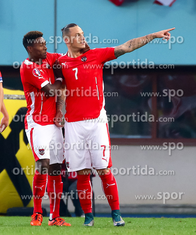 12.10.2015, Ernst Happel Stadion, Wien, AUT, UEFA Euro 2016 Qualifikation, Österreich vs Liechtenstein, Gruppe G, im Bild David Alaba (AUT), Marko Arnautovic (AUT) jubeln über das Tor zum 1:0// the UEFA EURO 2016 qualifier group G match between Austria and Liechtenstein at the Ernst Happel Stadion, Vienna, Austria on 2015/10/12. EXPA Pictures © 2015 PhotoCredit: EXPA/ Sebastian Pucher