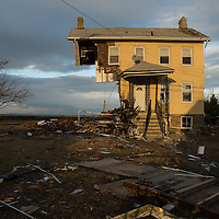 A destroyed home on Front Street in Union Beach, NJ November 8, 2012. Photo Ken Cedeno