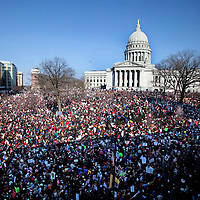 .Protests continued Saturday March 12, 2011 with tens of thousand of people crowded the Capitol Square in Madison, in support of the Democratic Senators who returned to Madison.  Steve Apps-State Journal.