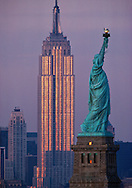 Statue of Liberty National Monument, and  Empire State Building,  New York, New Jersey