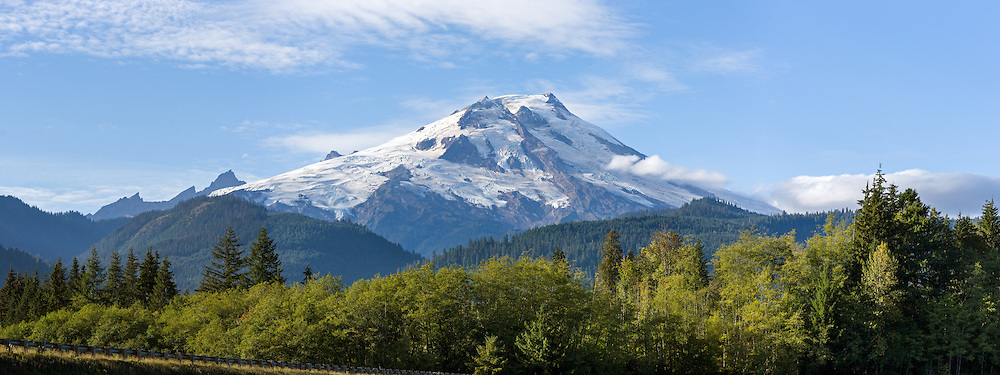 Mount Baker (Komo Kulshan) from Baker Lake in the Mount Baker-Snoqualmie National Forest in Washington State, USA