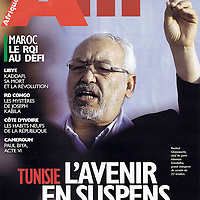 USE ARROWS &larr; &rarr; on your keyboard to navigate this slide-show<br /> <br /> Afrique Magazine<br /> Front cover photo of Rached Ghannouchi, leader of the Tunisian Islamist party Ennhadha, during the elections campaign in 2011.