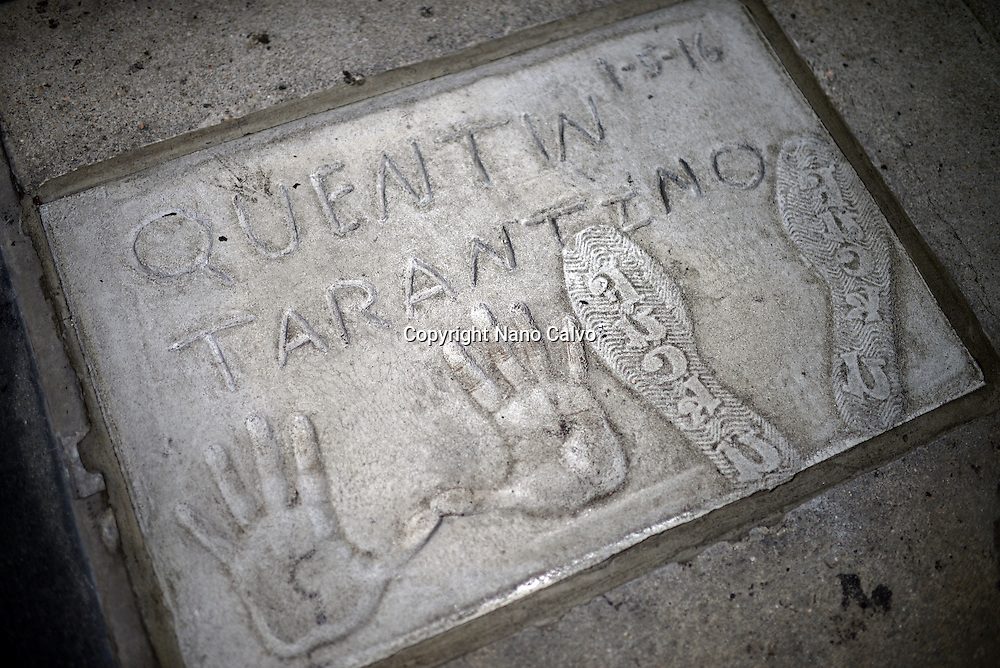 Quentin Tarantino´s prints in Grauman's Chinese Theatre, Hollywood Boulevard.