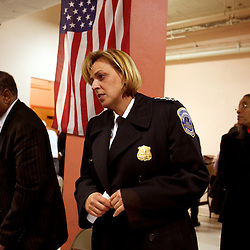 Police Chief Cathy L. Lanier attends a meeting with the Northwest Columbia Heights Community Association in Washington, D.C. on March 16, 2009. Lanier, chief of police with the Metropolitan Police Department of the District of Columbia, MPDC, rose to her position from humble beginnings: she was a high-school dropout after ninth grade and an unwed mother at the age of 15. Despite a rough start, she later earned advanced academic degrees from the Johns Hopkins University and the Naval Postgraduate School in Monterey, Calif., where she completed a Masters in Security Studies. Lanier also attended the John F. Kennedy School of Government at Harvard University and is a graduate of the FBI Academy and the University of the District of Columbia. She has been on the force for 18 years.