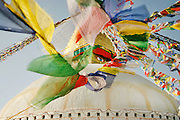 Bodnath Stupa Prayer flags. Kathmandu, Nepal. UNESCO World Heritage Site.