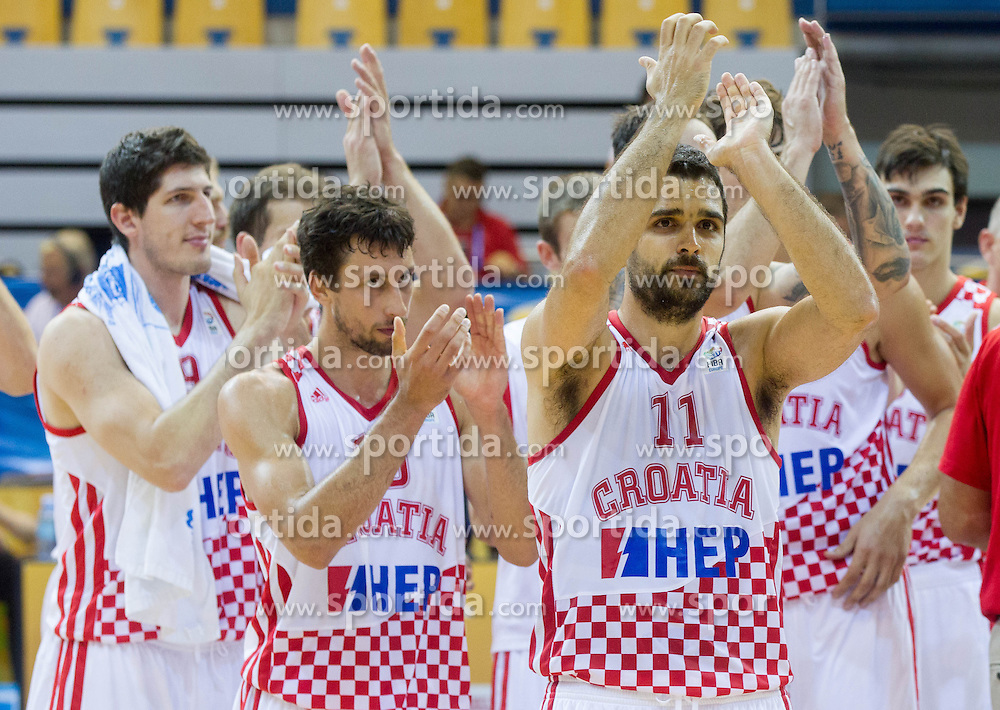 Roko Leni Ukic #10 of Croatia, Krunoslav Simon #11 of Croatia  celebrate after winning during basketball match between National teams of Croatia and Poland in Round 1 at Day 4 of Eurobasket 2013 on September 7, 2013 in Arena Zlatorog, Celje, Slovenia. (Photo by Vid Ponikvar / Sportida.com)
