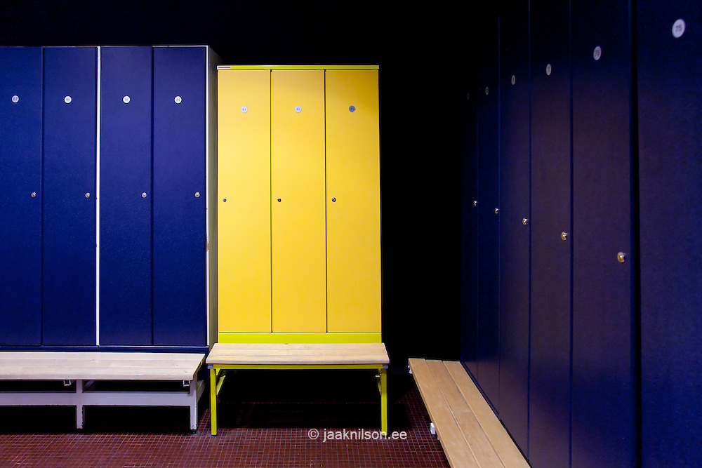 Changing Room With Blue And Yellow Locker Doors In Viimsi