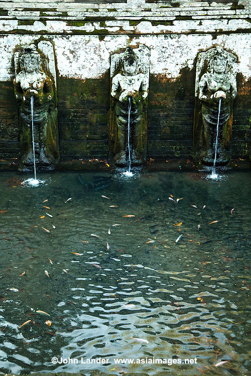 Pools and fountains at Goa Gajah, usually known as the Elephant Cave, is located in a steep valley just outside of Ubud near  Bedulu village.  Built more than 700 years ago, the cave was rediscovered in the 1920s.