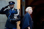 14-1-2015 AMSTERDAM - Princess Beatrix  arrive at the Palace at the Dam for the new year reception corps diplomatic . COPYRIGHT ROBIN UTRECHT