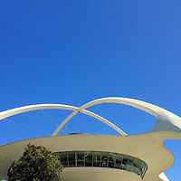 USA, California, Los Angeles. Iconic Theme Building at Los Angeles International Airport.