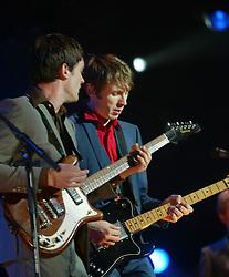 Nicholas McCarthy & Alex Kapranos of Franz Ferdinand, on stage at Prince's Street Gardens, Edinburgh, Scotland.©Pic : M Schofield...