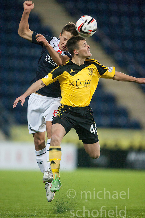 Falkirk's Will Vaulks and  Livingston Danny Mullen.<br /> Falkirk 4 v 1 Livingston, Scottish Championship game played today at the Falkirk Stadium.<br /> &copy;Michael Schofield.