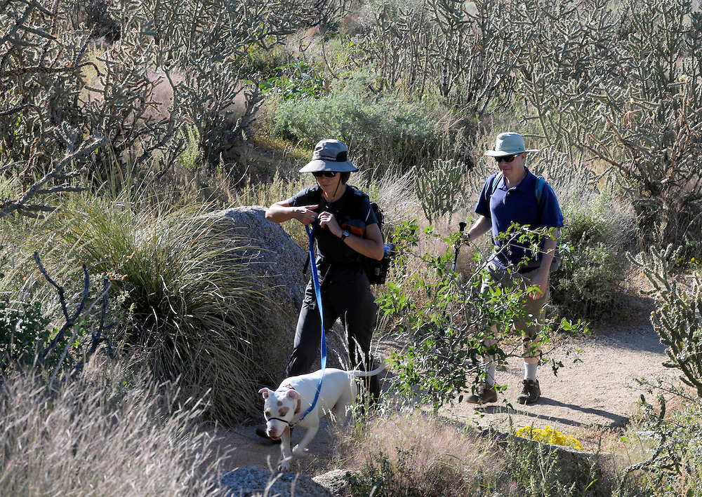 """pvc092611d/9-26-11/go.  Catherine Waters (CQ), left, and her friend Elliot Essman (CQ), right, hike in the foothills with Waters' dog """"Cleo"""" in the Sandia foothills Sunday Sept. 25, 2011.  Waters said she was packing a GPS device, lots of water, rain gear, food, and Essman carried a snake bite kit, bear pepper spray, a first aid kit, and adequate water.  (Pat Vasquez-Cunningham/Journal)"""