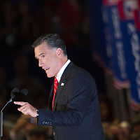 MITT ROMNEY addresses the audience as he accepts his party nomination during day four of the RNC at the Tampa Bay Times Forum in Tampa Thurs. Aug. 31, 2012.