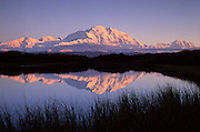 Illuminated Mt McKinley and Reflection Pond
