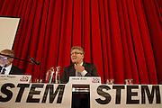 Henk Krol tijdens het congres in van 50Plus. In Hilversum houdt de 50Plus partij haar verkiezingscongres. Tijdens het partijcongres wordt Henk Krol gekozen tot de lijsttrekker. Jan Nagel is de partijvoorzitter.<br /> <br /> Henk Krol at the congress. The 50Plus party, a political party aiming mostly at the people of 50 years and older, is having its congress in Hilversum. Henk Krol, former chief editor of the Gaykrant, is elected as leader. Jan Nagel is the chairman.