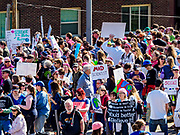 22 APRIL 2017 - ST. PAUL, MN: Marchers gather at the St. Paul Cathedral before the March for Science near the Minnesota State Capitol. More than 10,000 people marched from the St. Paul Cathedral to the Minnesota State Capitol in St. Paul during the March for Science. March organizers said the march was non-partisan and was to show support for the sciences, including the sciences behind climate change and vaccines.      PHOTO BY JACK KURTZ