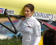 Reading, GREAT BRITAIN, GBR W4X, Annie VERNON, carries the boat after a training session at the  GB Rowing 2007 FISA World Cup Team Announcement, at the GB Training centre, Caversham, England on Thur. 26.04.2007  [Photo, Peter Spurrier/Intersport-images]..... , Rowing course: GB Rowing Training Complex, Redgrave Pinsent Lake, Caversham, Reading