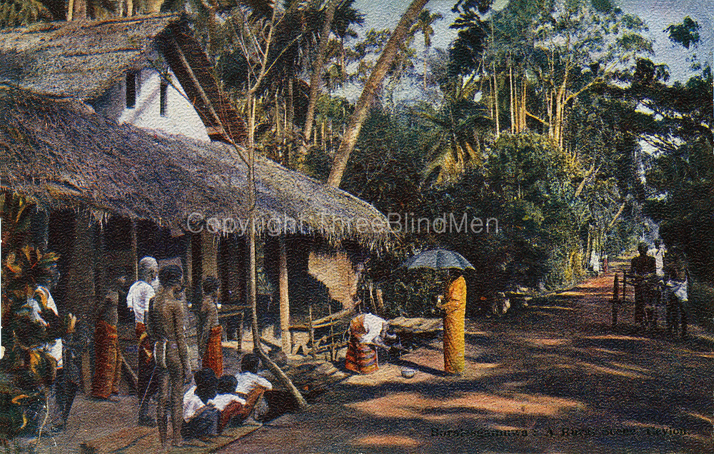 Old Postcard. Monk collecting alms, Boralasgamuwa.