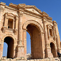 Arch of Hadrian in Ancient Jerash, Jordan<br />