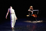 A new work by choreographer/director Jacky Lansley, Guest Suites is inspired by Bach's Cello Suites, six dance suites for unaccompanied cello. Featuring composer Jonathan Eato, & Audrey Riley plays live cello. At the Clore Studio, Royal Opera House, London 2012. Picture shows Sanna Eriksson Ryg.